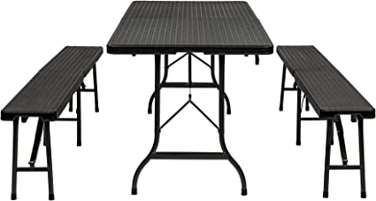 TecTake Conjunto Mesa y Bancos Plegables Muebles para Camping Picnic (Negro | no. 402209)