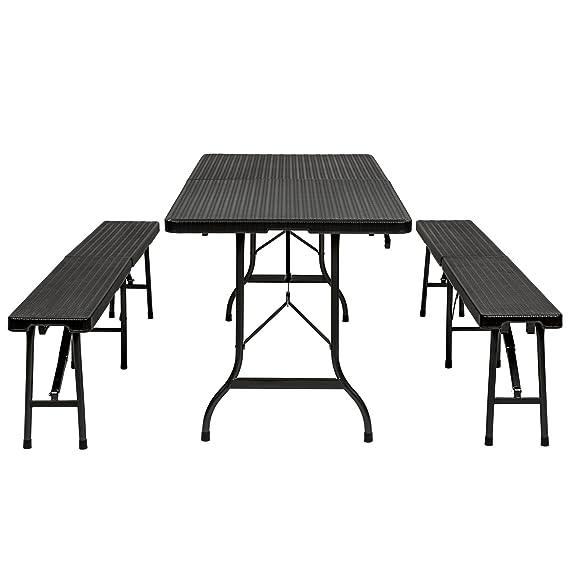 TecTake Conjunto de mesa y 2 bancos plegables para camping picnic jardin terraza óptica de la ratán: Amazon.es: Jardín