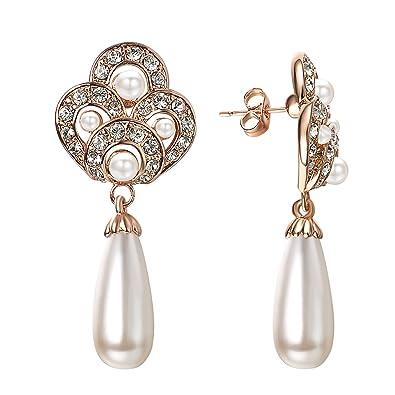 7d42f556d Amazon.com: VOGEM Vintage Teardrop Pearl Stud Earrings For Women Wedding  Bridal Rhinestone 18K Rose Gold Plated Dangling Earrings: Jewelry