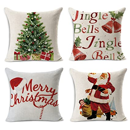 "WOMHOPE 4 Pcs - 17"" Merry Christmas Tree Santa Series Cotton Linen Square Throw Pillow Case Decorative Cushion Cover Pillowcase Cushion Case for Sofa,Bed (Santa (Stand) 4 pcs) best Christmas throw pillows"