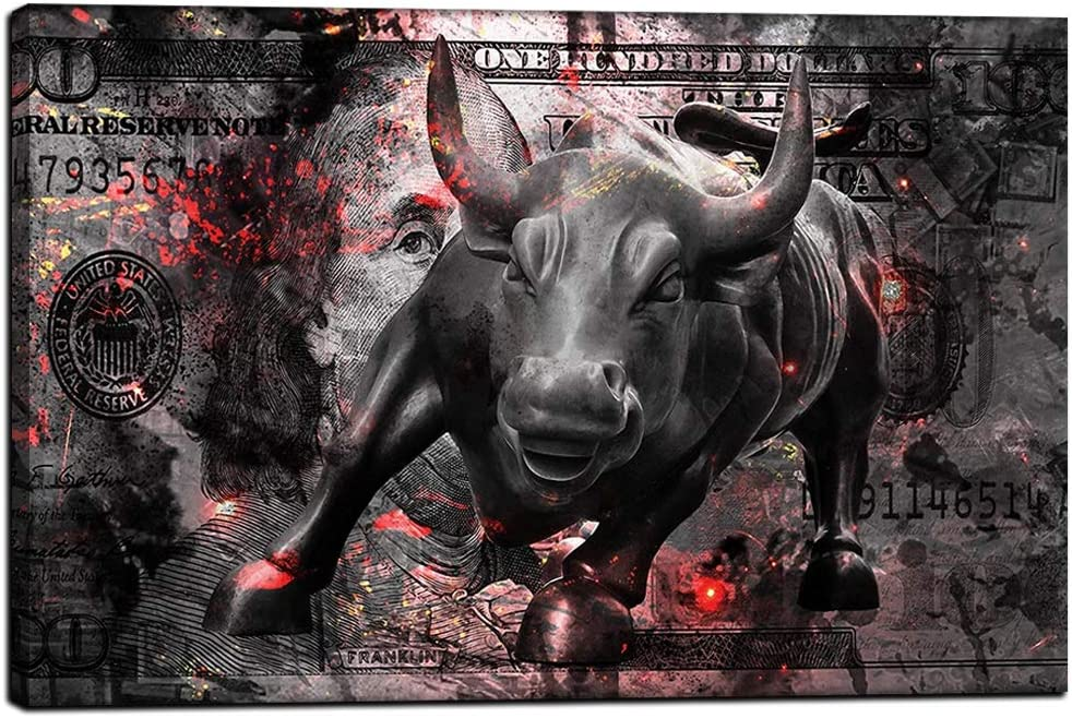"Inspirational Quotes Canvas Wall Art Framed Motivational Painting Modern Inspiring Entrepreneur Pictures Mindset is Everything Posters Street Charging Bull Artwork Decor for Home Office-12""Wx18""H"
