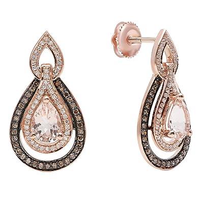 3e7ef7170 10K Rose Gold 7X5 MM Each Pear Morganite,Round Champagne & White Diamond  Ladies Halo