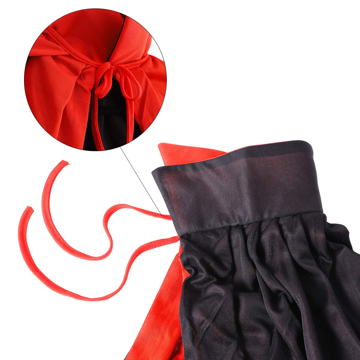 Vosarea 1.4m Cool Stand a Doppio Strato Collare Mantello per Adulti Mantello Cosplay Mantello Prop per Halloween Masquerade Nero e Rosso