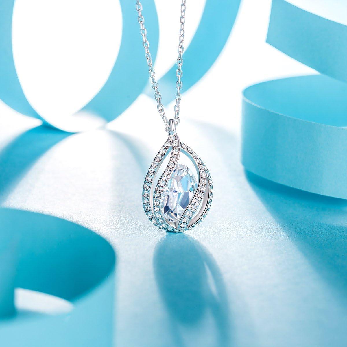 Bo/îte /à Bijoux Cadeaux Bijoux F/ête des M/ères Plaqu/é Platine Cristal Bleu de Swarovski Kami Idea Femme Collier Clair de Lune