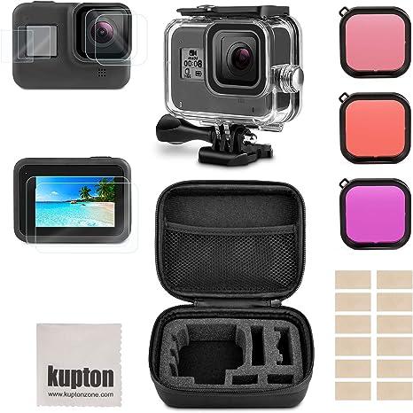 Kupton Accesorios para GoPro Hero 8, Incluye Carcasa Impermeable+ Protector de Pantalla de Vidrio Templado + Estuche de Transporte+ Filtro de Snorkel+ Inserciones Antiniebla para GoPro 8: Amazon.es: Electrónica