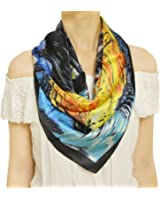 TONY & CANDICE Womem's Graphic Print 100% Silk, Silk Scarf Square , 33*33 Inches