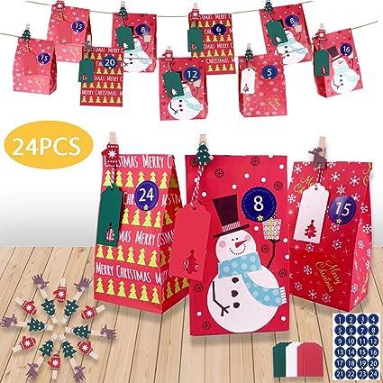 Bolsas de regalo navidad, 24 Bolsas de Papel Kraft de ...