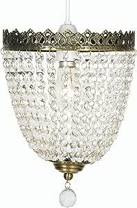 Oaks Lighting Ekon Antique Brass Frame/ Glass Beads Pendant Shade, 20 cm