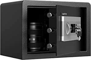 HAPFIY Safe Box with Induction Light, Electronic Digital Security Safe Steel Construction Hidden with Lock, Wall or Cabinet Anchoring Design for Home Office (0.58 Cubic Feet)