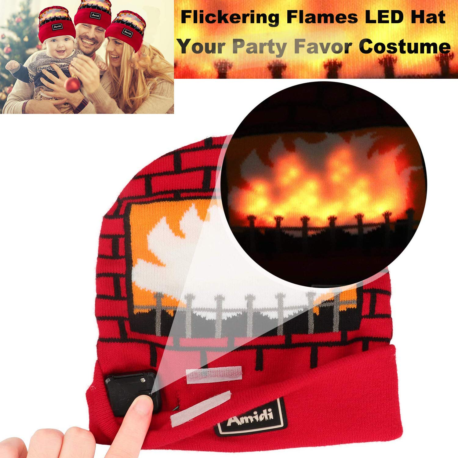UPBASICN 2018 New Version Flickering Flames LED Light Up Hat Unisex Real  Flames Knitted Beanie Hat Kids Teens One Size Light Up Hat Costume Party  Favors ... 9b12b33c3c91