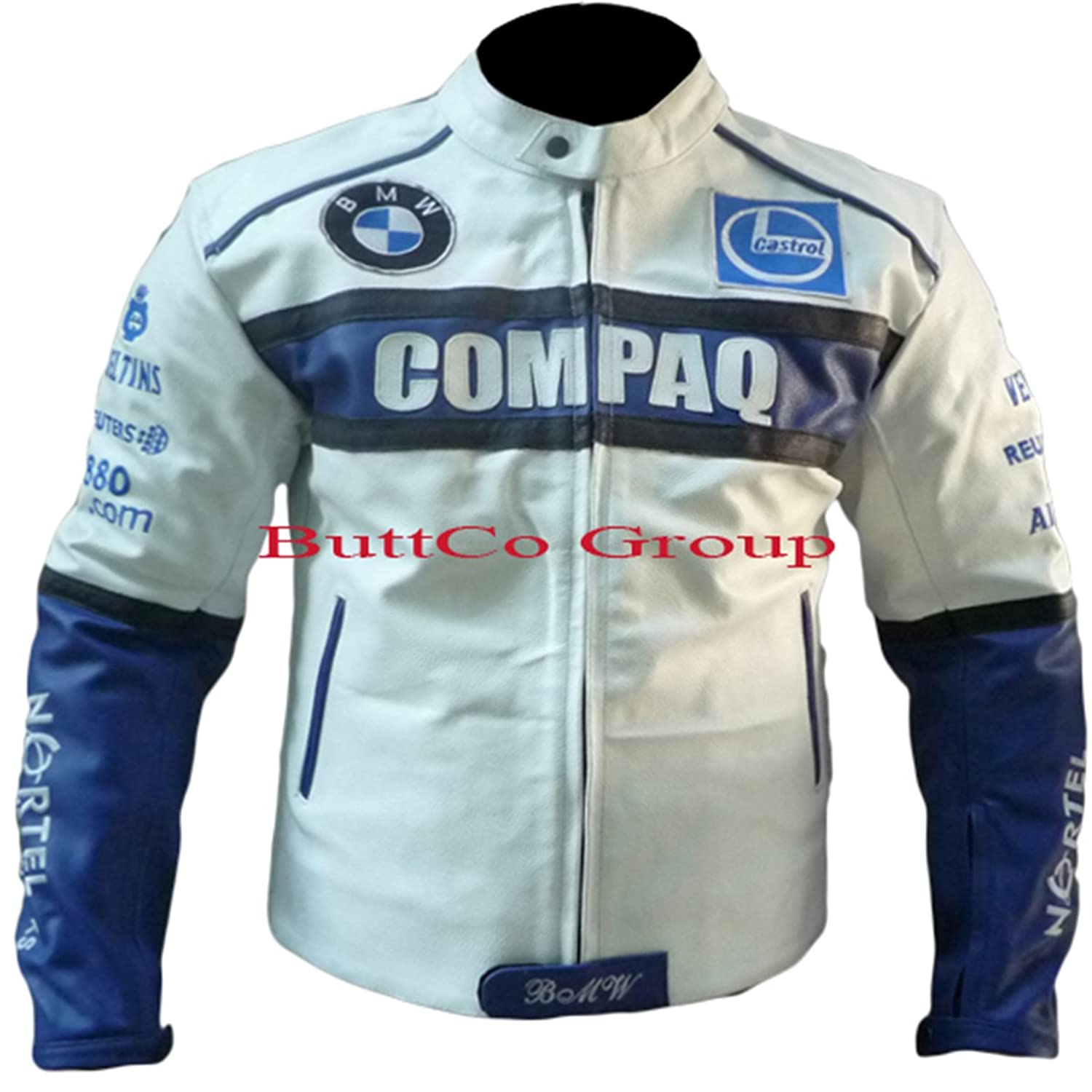 BMW White Motorcycle Motorbike Biker Armour Leather Jacket - Size- XS to 4XL. Please email your required size, we will confirm with you before posting it.