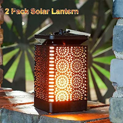 2 Pack - Solar Flame Lantern Lights Waterproof Outdoor Hanging Lantern Solar Powered for Garden Patio Deck Yard Path