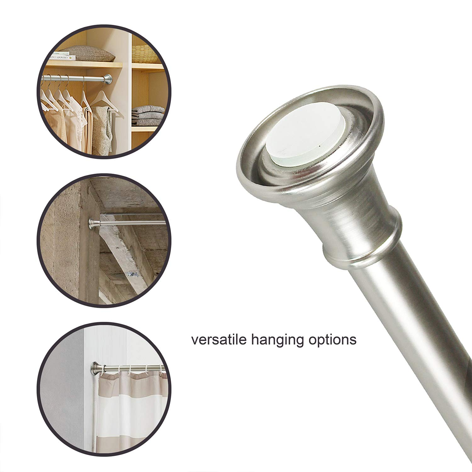 Screw In Shower Rod.Shower Rod Tension Shower Curatin Rod Adjustable Shower Curtain Pole In Screw Or No Need Tool Mounted Nickle Nickel 26 42
