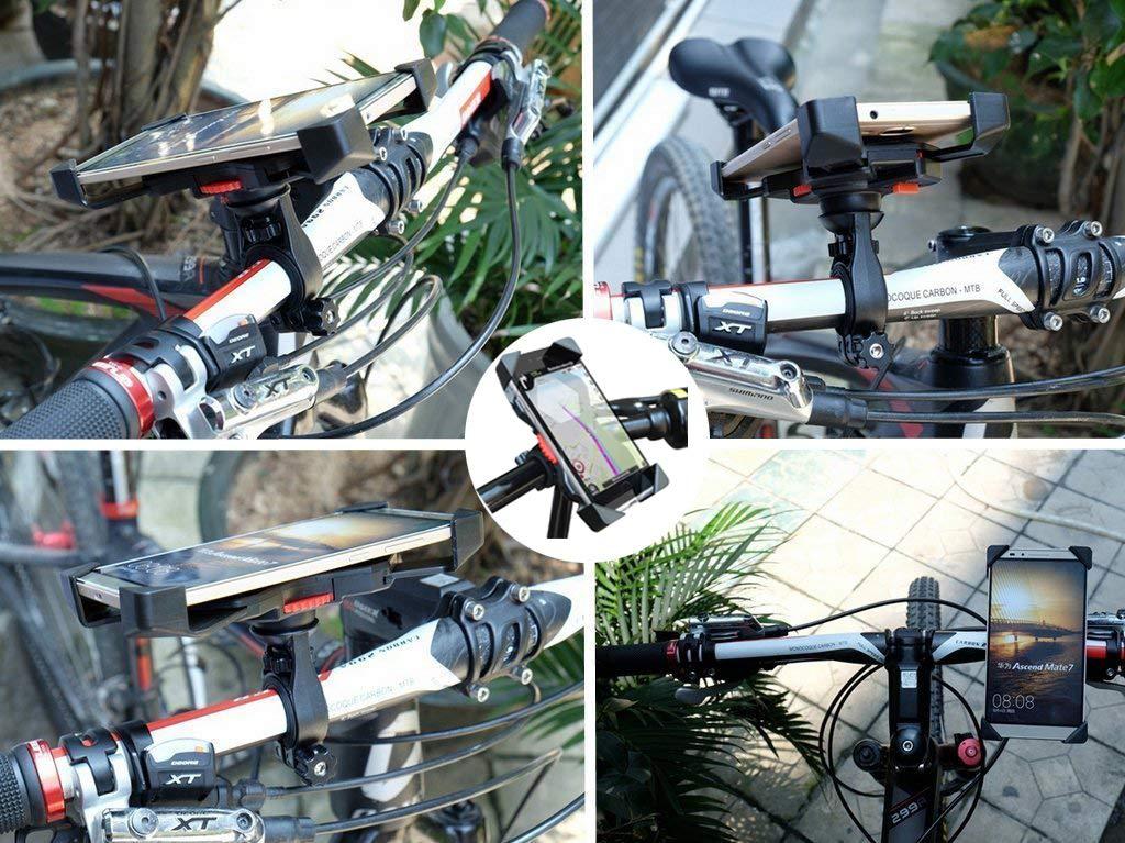 Motorrad Handyhalterung, ZOORE Universal Anti-Shake Fahrrad Motorrad Handyhalterung, Stabile Fahrradhalterung für Motorrad Rückspiegel 360°Drehbare für 3,5-6,5 Zoll Smartphone, GPS, Andere Geräte,