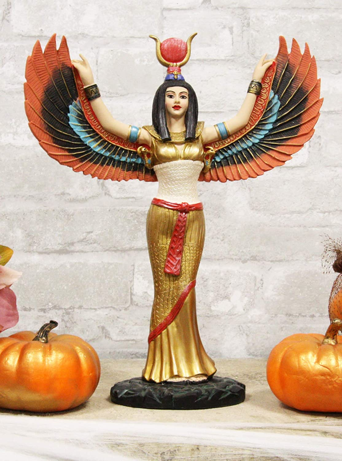 Ebros Gift Egyptian Goddess Isis Ra with Open Wings Statue 12