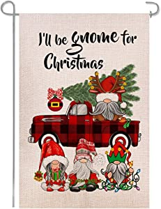 Shmbada Gnome Christmas Winter Plaid Red Truck Double Sided Burlap Garden Flag, Seasonal Home Decor Outdoor Decorative Small Flags for Yard Lawn Patio Porch Farmhouse, 12 x 18 Inch