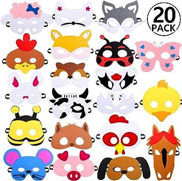 Rymall Mascaras Animales para Niños, 20 PCS Máscaras de Fiesta ...