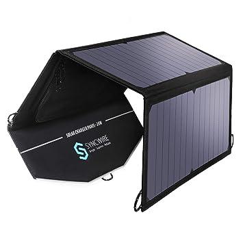 Syncwire Cargador Solar, Cargador Solar con Dos Puertos USB 24W para teléfonos móviles iPhone, iPad, Samsung, Huawei [para Viajes al Aire Libre, ...