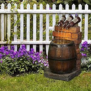Fountain Yard Art Decor, Resin Wine Bottle and Barrel Outdoor Fountain, Shoes and Dog Resin Handicraft Decorations, Water Fountain Resin Garden Sculpture (Barrel Fountain)