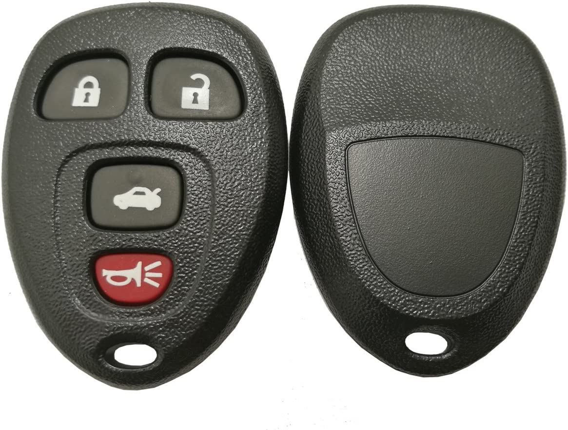 Black- 2 Pack Keyless Entry Remote Car Key Fob Shell Case for GM Chevrolet Chevy Cadillac Buick 4 Buttons Replacement with Button Pad