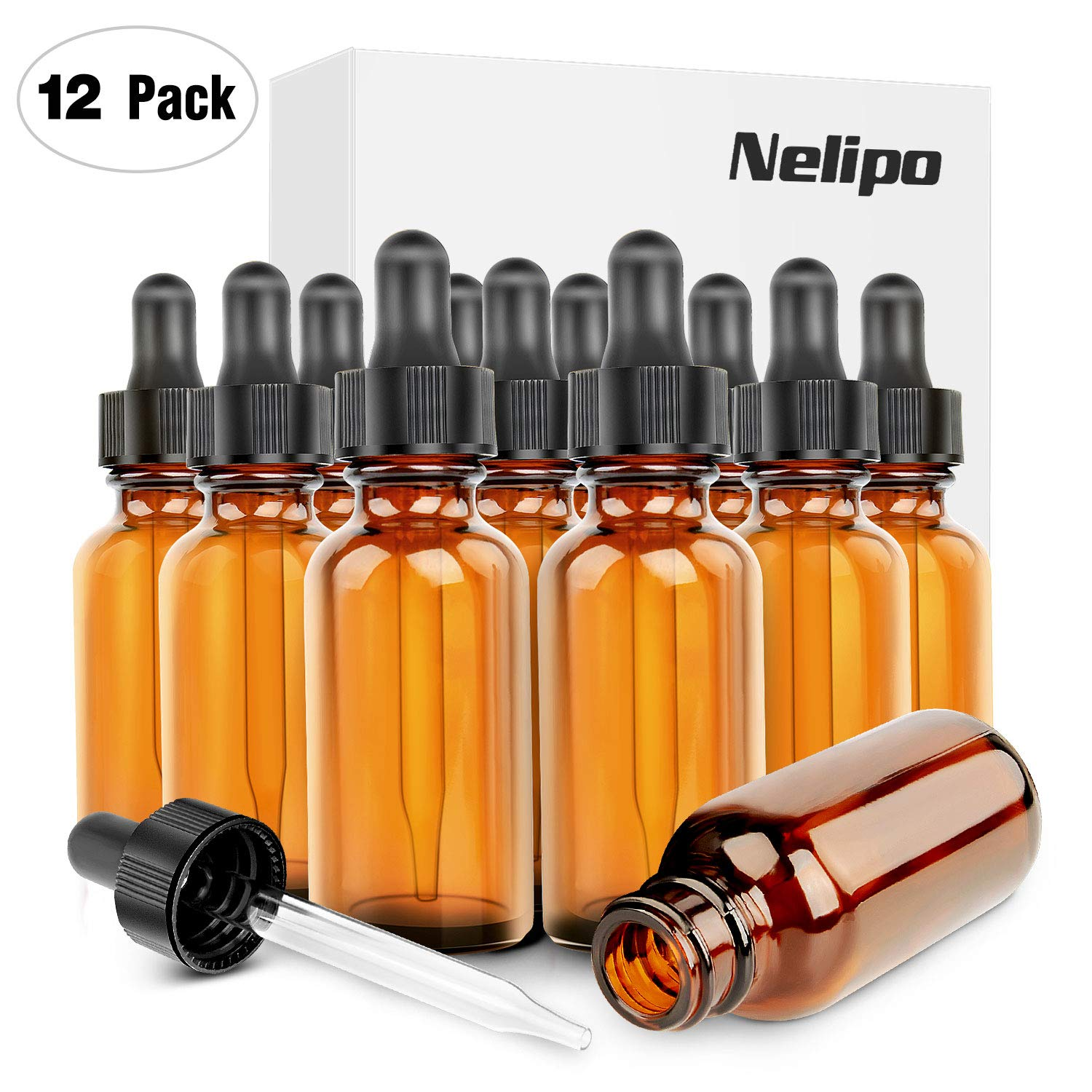 Nelipo 1oz Amber Glass Bottles for Essential Oils with Glass Eye Dropper - Pack of 12 by NELIPO