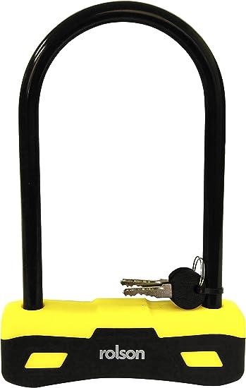 Rolson 66743 - Candado para Bicicleta, Tipo U, Color Negro: Amazon ...