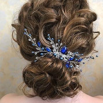 bridal hair comb silver and blue wedding hair piece comb wedding hair combs rhinestone wedding comb pearl Bridal comb Crystal hair comb Prom