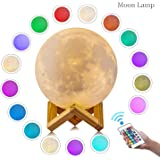 Roo Moon Lamp, 3D Printing LED 16 Colors RGB Moon Light, Night Light with Remote&Touch Control- Adjustable Brightness&USB Charging(15cm)