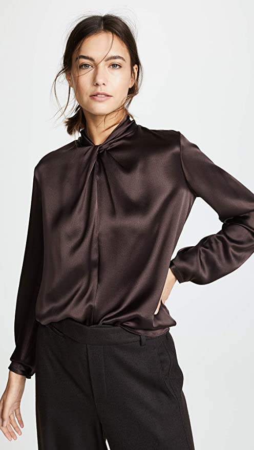 5111673a92d396 Amazon.com  Vince Women s Neck Knot Blouse  Clothing