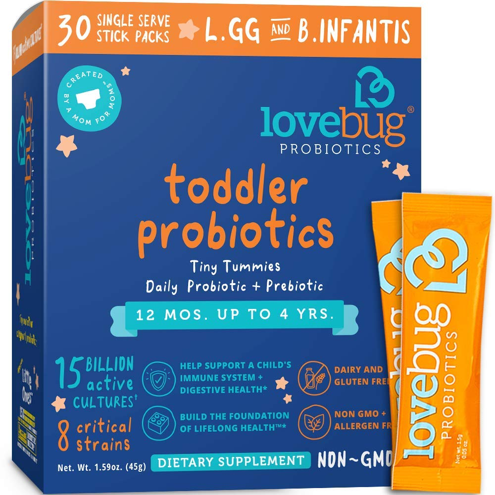 Lovebug Probiotic and Prebiotic for Kids, 15 Billion CFU, for Children 12 Months to 4 Years
