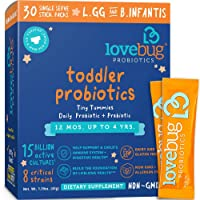 Lovebug Probiotic and Prebiotic for Kids, 15 Billion CFU, for Children 12 Months...