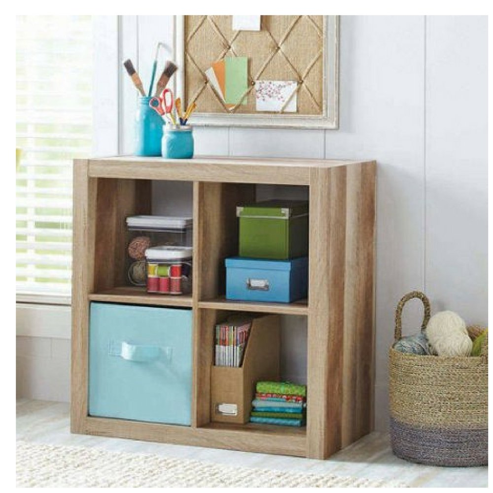 Better Homes and Gardens Bookshelf Square Storage Cabinet 4-Cube Organizer Weathered
