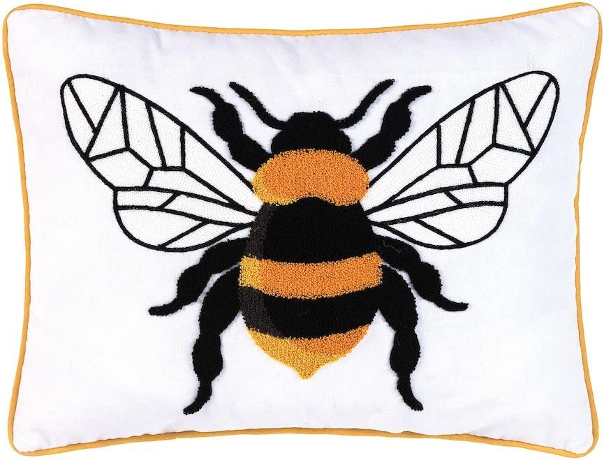 C F Home Bumble Bee Tufted Pillow 14 x 18 Black