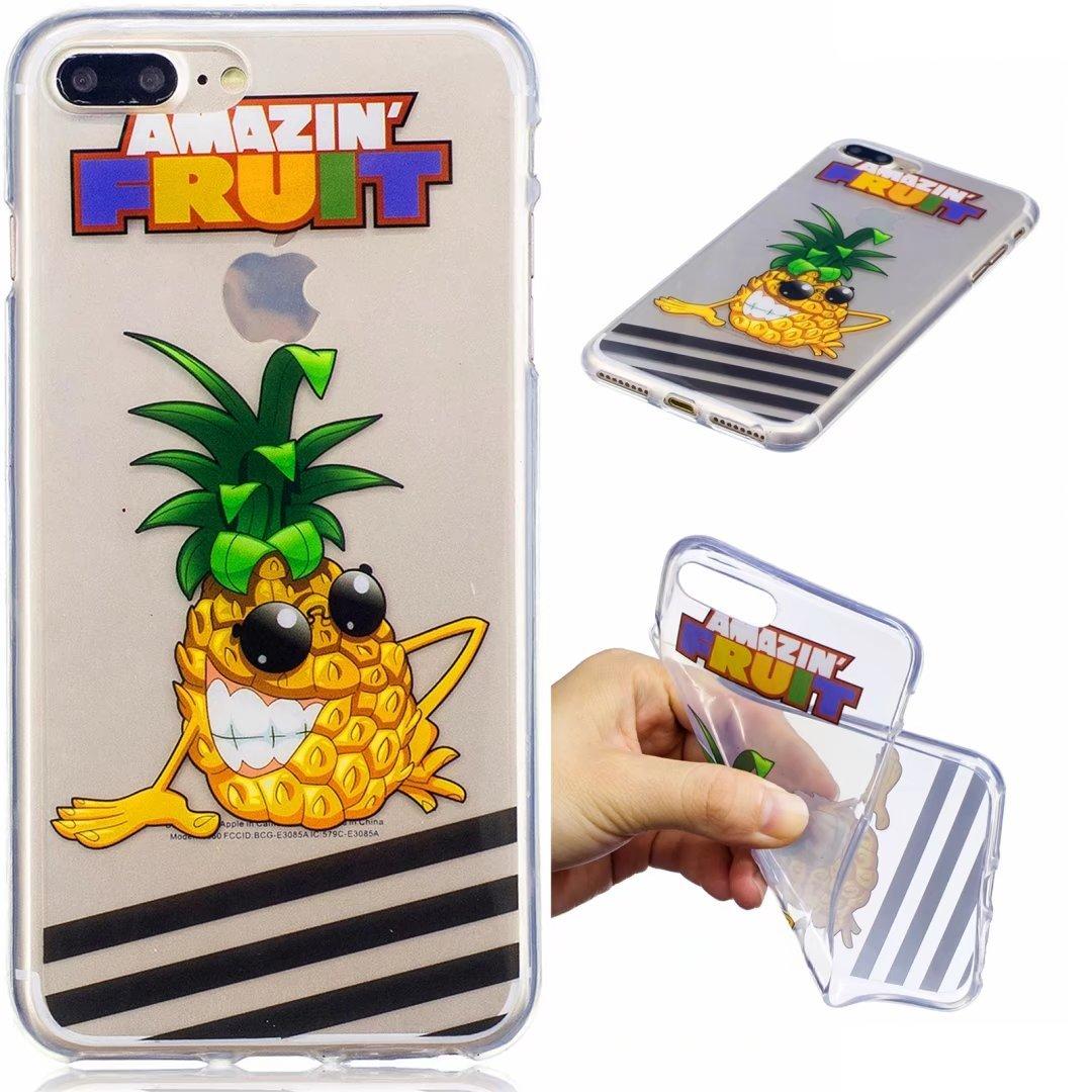 Funda iPhone 7PLUS silicona transparente Ultra-fino TPU suave Carcasa Bumper DECHYI Patró n arte-ananas