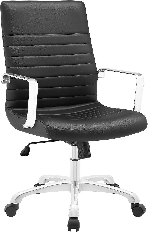 Modway Finesse Ribbed Faux Leather Mid Back Ergonomic Swivel Computer Desk, Black