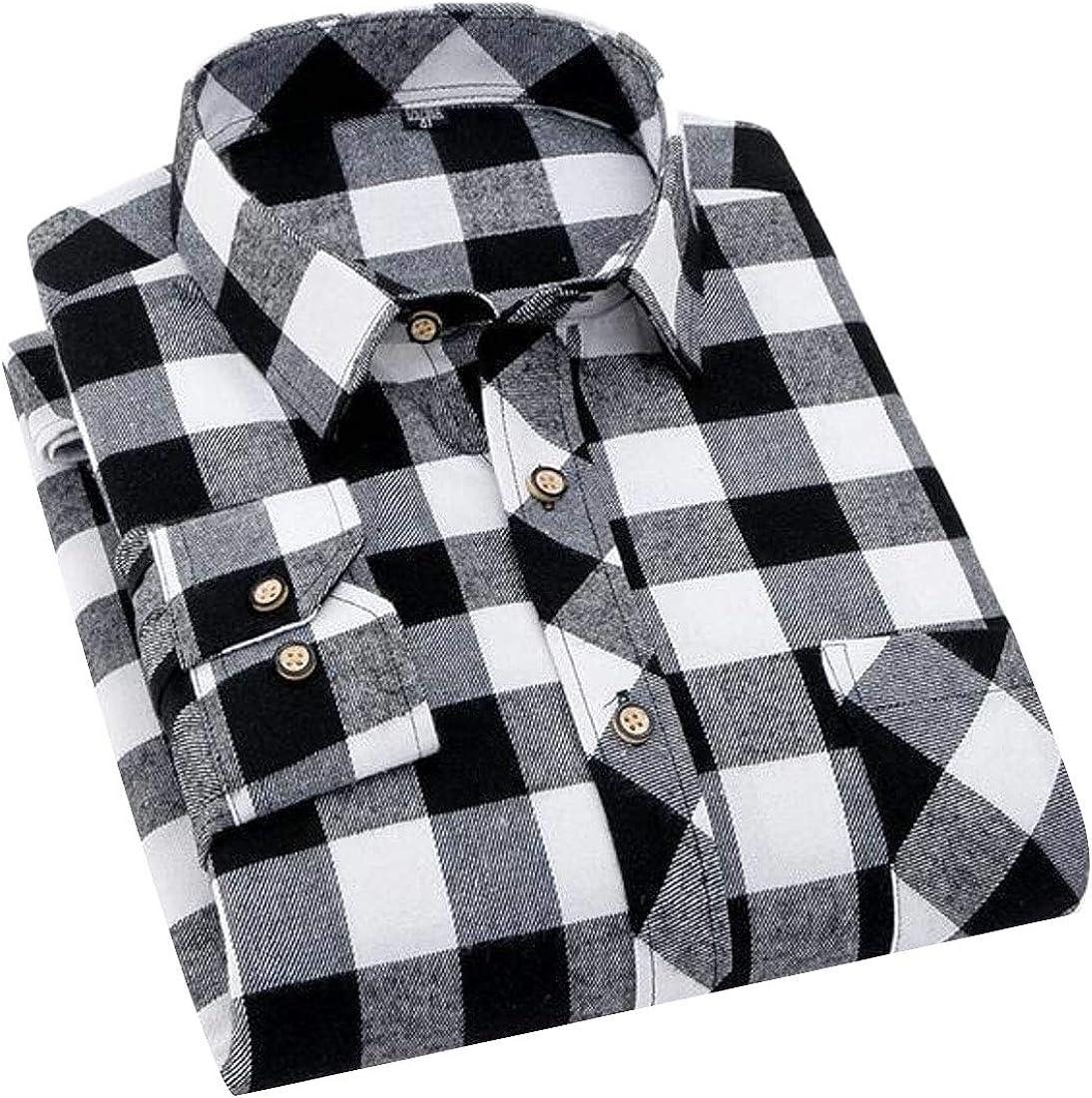 MOUTEN Men Casual Business Button Up Plaid Long Sleeve Dress Flannel Checkered Shirt