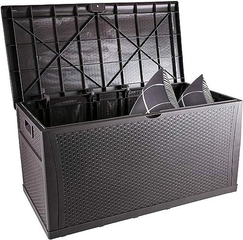 HYD-Parts Outdoor Wicker Deck Box,Patio Storage Deck Box Waterproof 120 Gallon