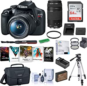 Canon EOS Rebel T7 DSLR Camera with EF-S 18-55mm and EF 75-300mm Lens Complete Bundle with Bag, Battery, Charger, Filter Kit, Tripod, 64GB SD Card and Accessories