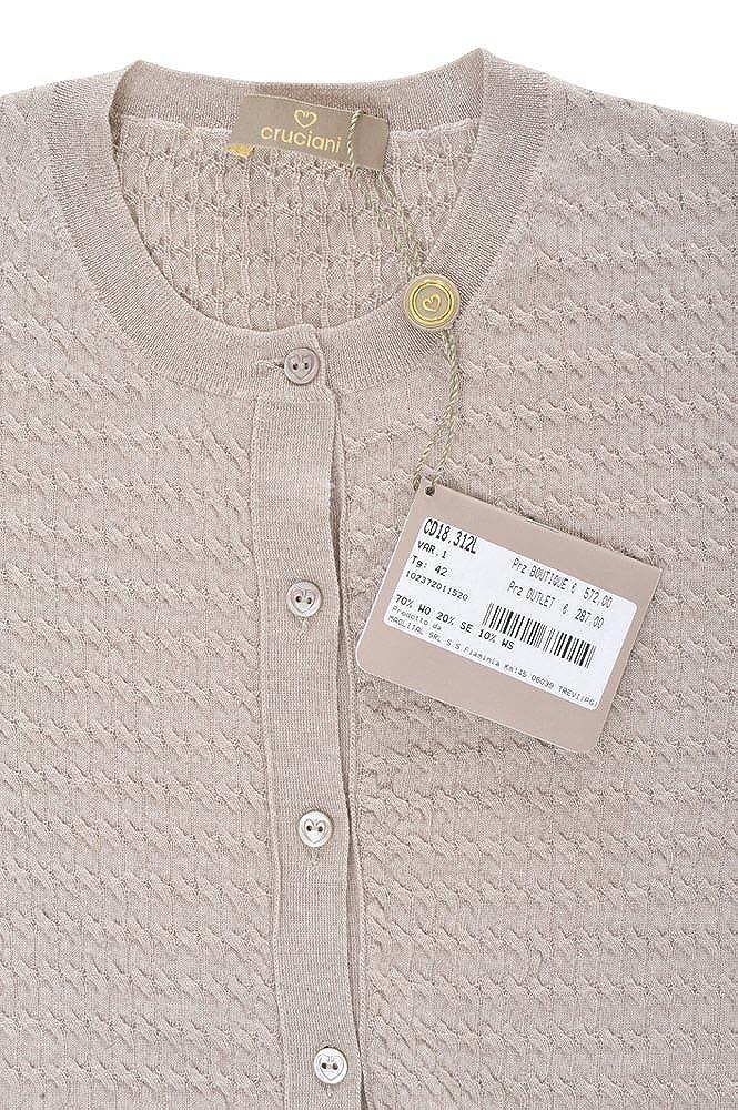 size 40 65088 94476 Cruciani Cardigan Women's Light Beige Yellow Slim Fit Wool ...
