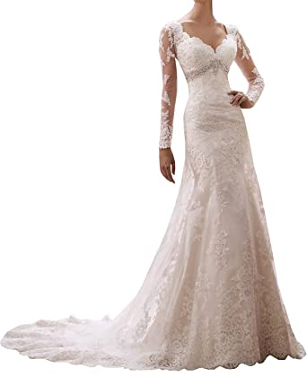 Baixia Crystal Lace Wedding Dress Ball Gowns Long Sleeve Amazon Co
