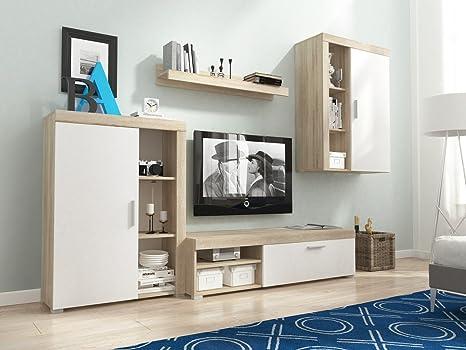 HomeDirectLTD Meg Moderno Conjunto De Muebles De Salón-Comedor, Mueble TV, Blanco/Roble