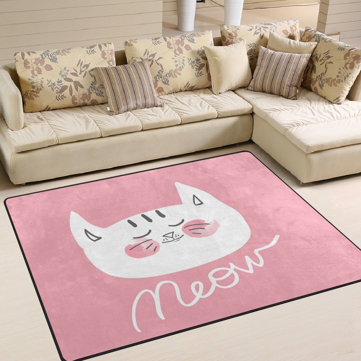 ALAZA Cute Cat Area Rug Rugs for Living Room Bedroom 5'3 x 4' g2260192p147c162s244