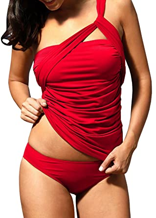 3d118818a6c6 Lueyifs Tankini Damen Bauchweg Push Up Schulterfrei Monokini Sexy Einfarbig Badeanzug  Bademode