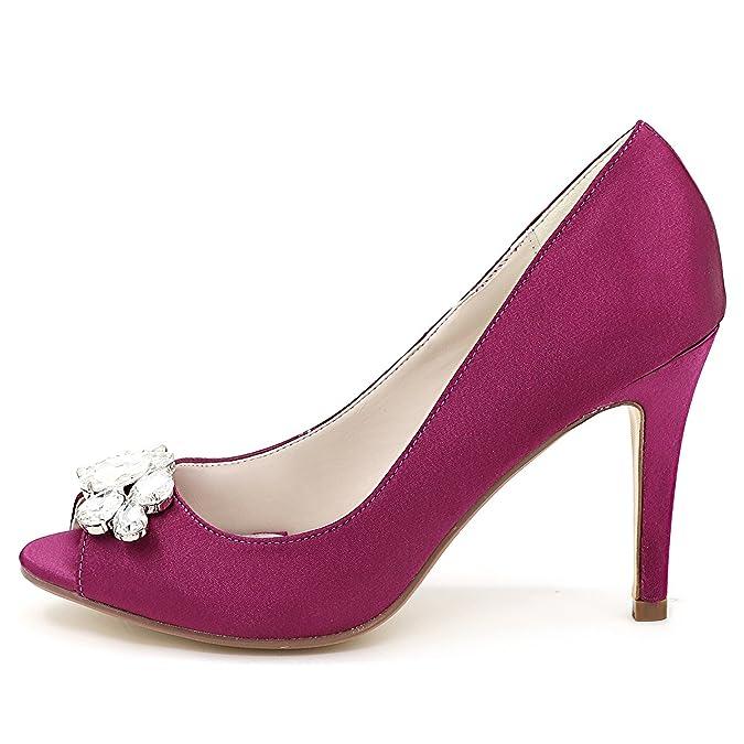 Mujer Plataforma De Para Zapatos Imitación Piedras Boda Elobaby RIqg70w