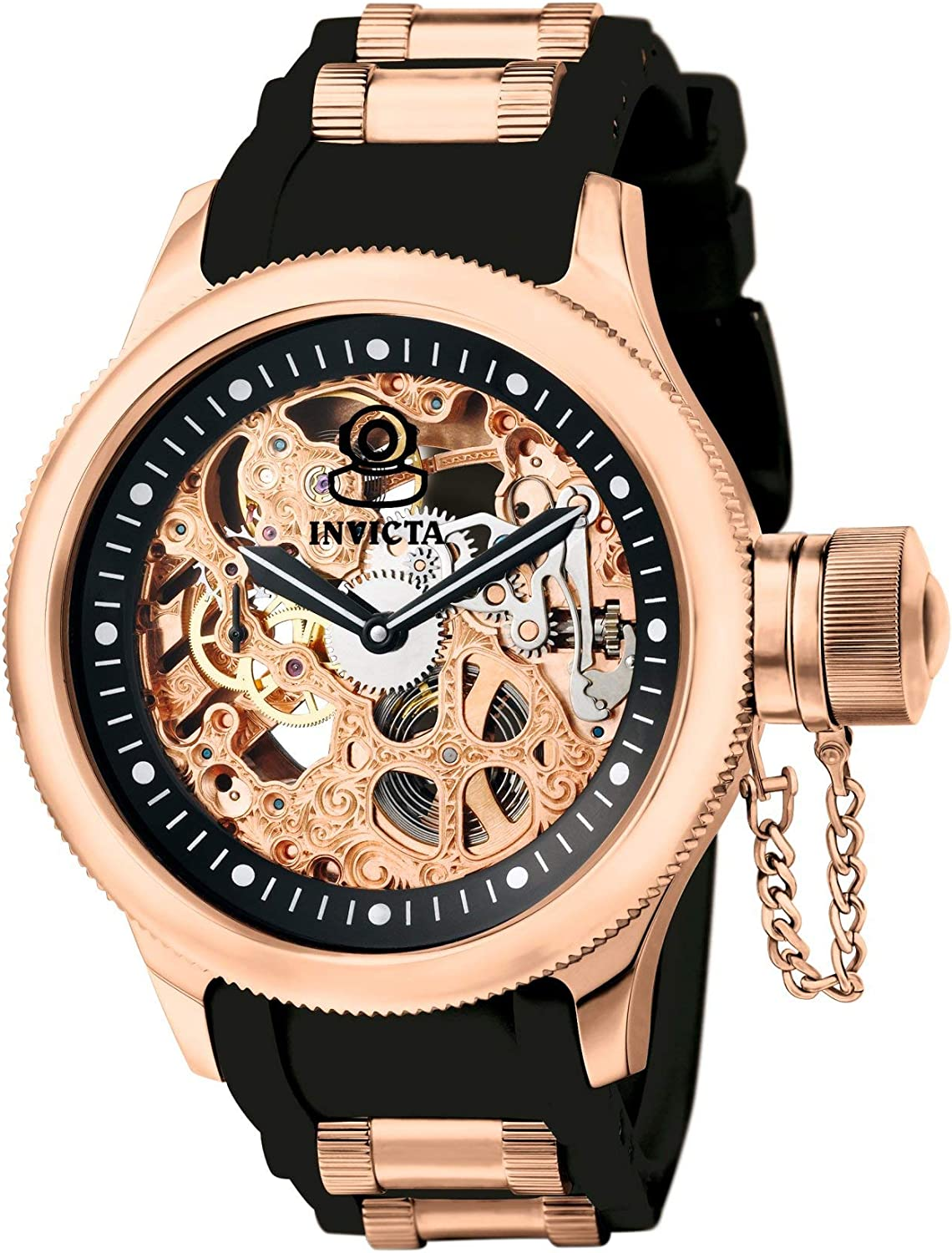Amazon.com: Invicta Men's Russian Diver Rose Gold Stainless Steel and Black  Polyurethane Mechanical Watch, Rose Gold/Black (Model: 1090): Invicta:  Watches