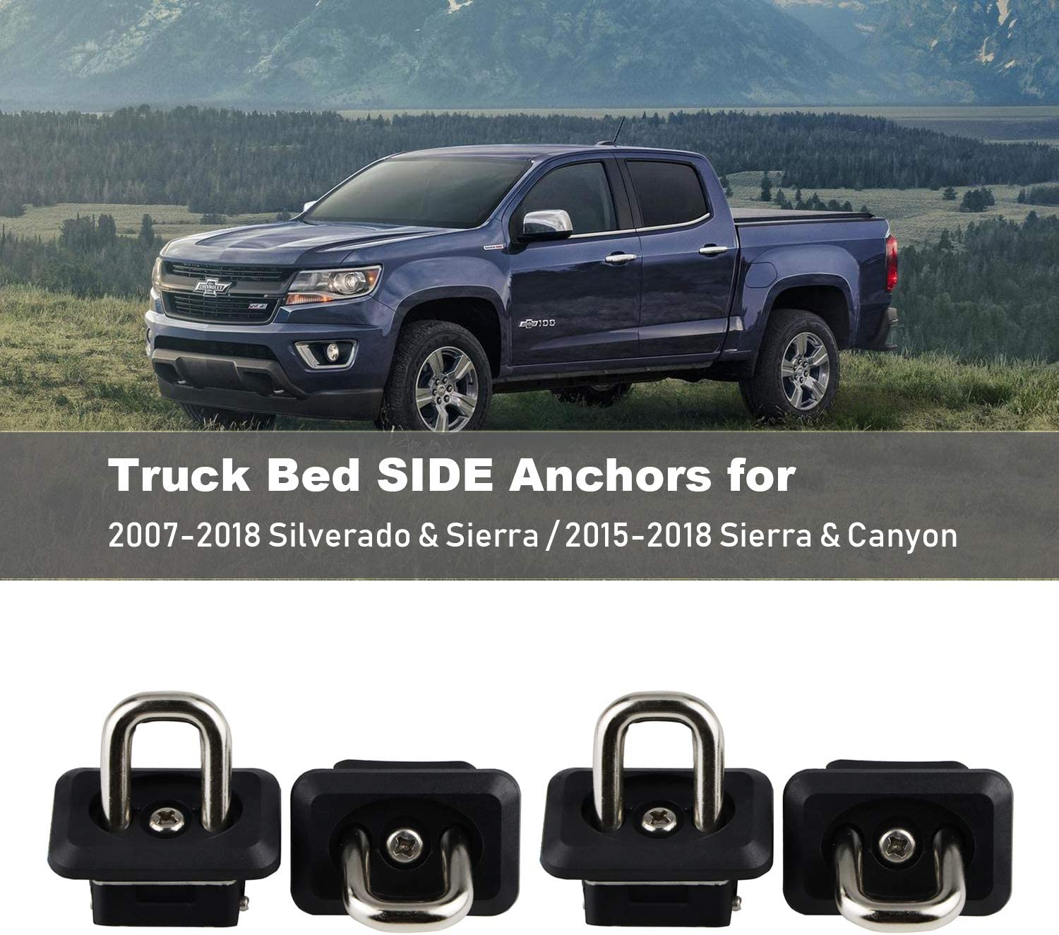 4pcs Tie Down Anchors Truck Bed Side Wall Anchor for 2007-2018 Chevy Silverdo GMC Sierra 2015-2018 Chevrolet Colorado Pickup