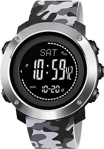 Podómetro Reloj Digital, Reloj Deportivo para Hombre con brújula ...