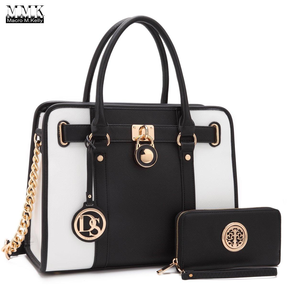 MMK collection Fashion Handbag with coin purse(XL-11) Classic Women Purse Handbag for Women` Signature fashion Designer Purse ~ Perfect Women Satchel Purse (XL-02-7103W-BK/WT)