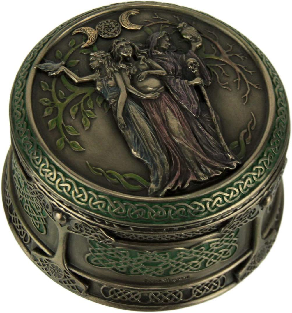 Veronese Design Celtic Triple Goddess Maiden Mother Crone Trinket Box