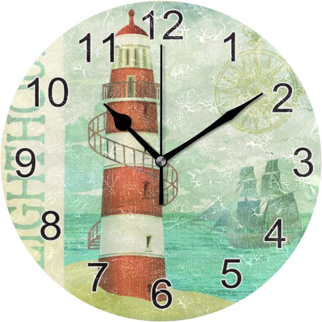 None Brand FFYHO Vintage Lighthouse Poster Wall Clock 9.5In Summer Seaside Island Coast Decor Silent Clocks for Home Office School Clock